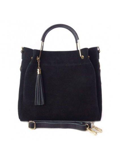 Kožená shopper bag kabelka Vera Pelle KLV55N černá