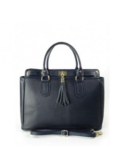 Kožená kufříková kabelka Vera Pelle K4BS modrá