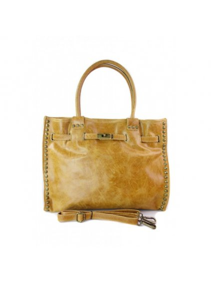 Kožená shopper bag kabelka Vera Pelle SB577 camel