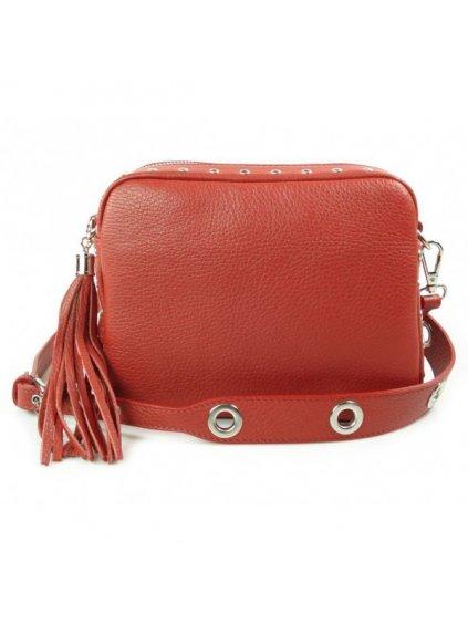 Kožená crossbody kabelka Vera Pelle VP1188 červená