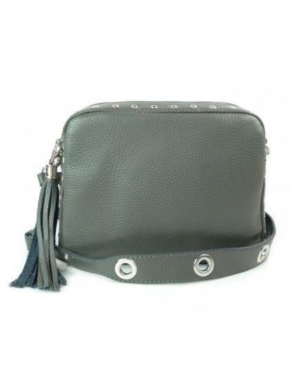 Kožená crossbody kabelka Vera Pelle VP1188 šedá