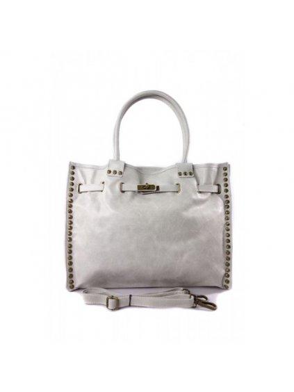 Kožená shopper bag kabelka Vera Pelle SB577 světle šedá