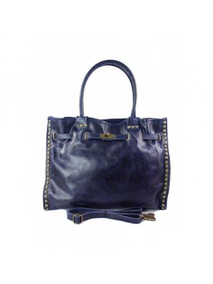 Kožená shopper bag kabelka Vera Pelle SB577 modrá