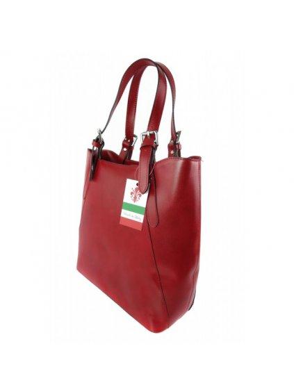 Kožená kabelka přes rameno Vera Pelle 0145 červená