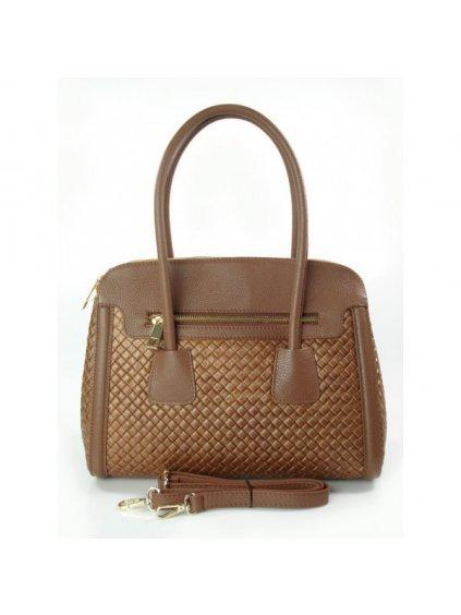 Kožená kufříková kabelka Alessia NM33RX hnědá