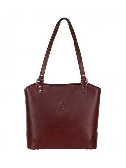 Kožená kabelka přes rameno Vera Pelle 131 hnědá (1)