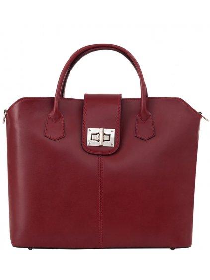 Kožená kufříková kabelka Luka 119 červená (1)