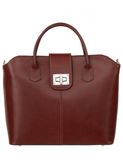 Kožená kufříková kabelka Luka 119 hnědá