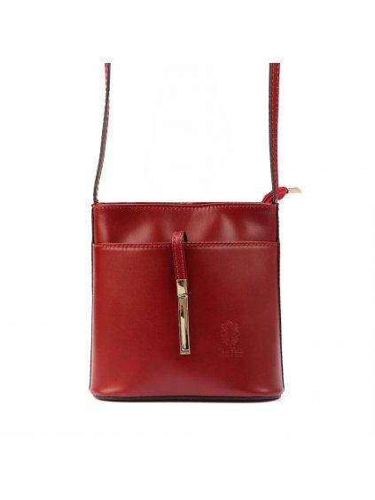 Kožená crossbody kabelka Vera Pelle 205 červená