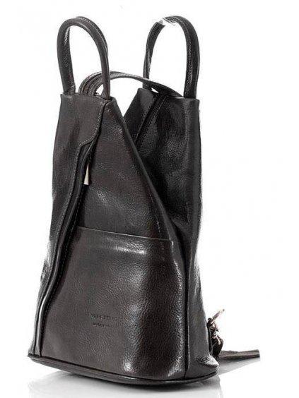 Dámský kožený batoh Vera Pelle MPl2Mb černý