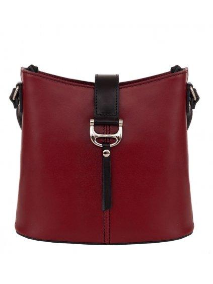 Kožená crossbody kabelka Giulia 17A červená černá (1)