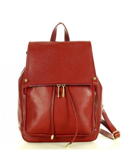 Dámský kožený batoh Mazzini MPl2 červený