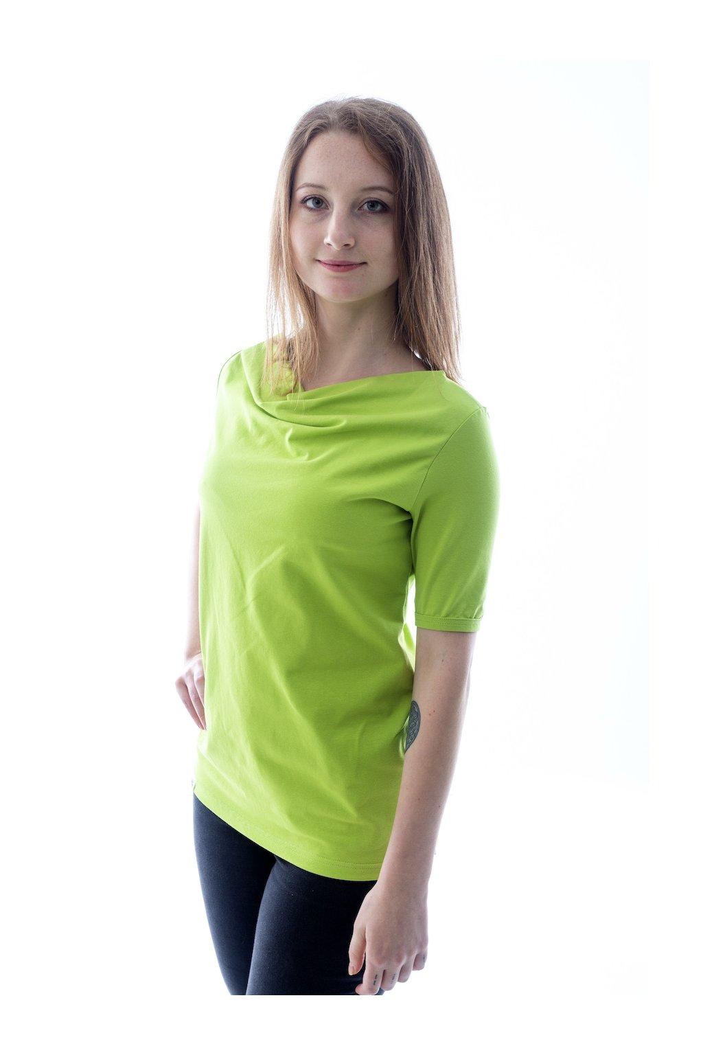 Limetkové tričko s výstřihem voda