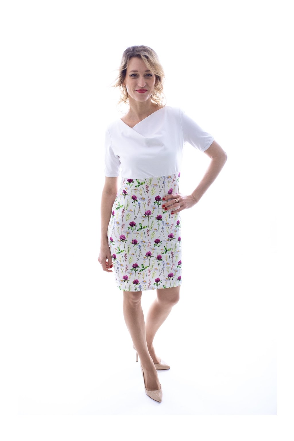 Kombinované šaty Bílá/Jetelík