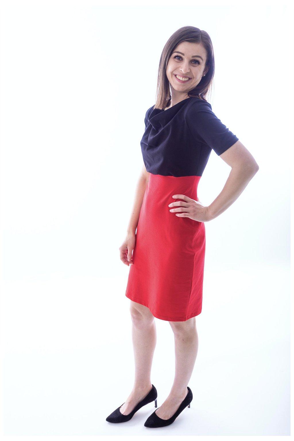 Kombinované šaty Černá/Červená