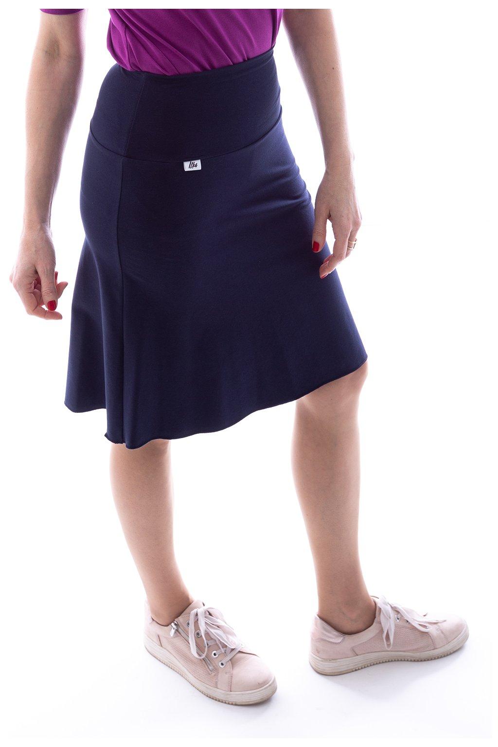 Tmavě modrá áčková sukně