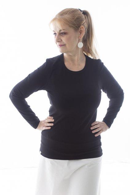 Černé tričko s dlouhým rukávem