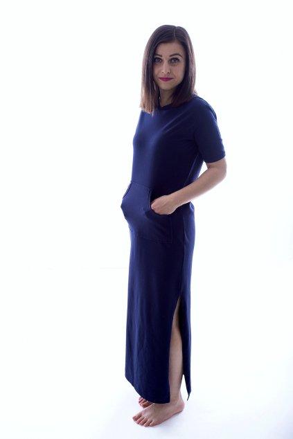 Dlouhé tmavě modré šaty s kapucí