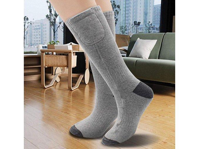 Vyhřívané ponožky 3,7V 4400mAh na dálkové ovládání (Barva Šedá)