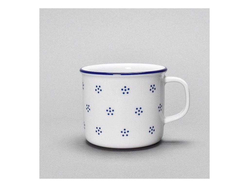 hrnek Retro porcelánový plecháček 250ml Valbella modrá D9417