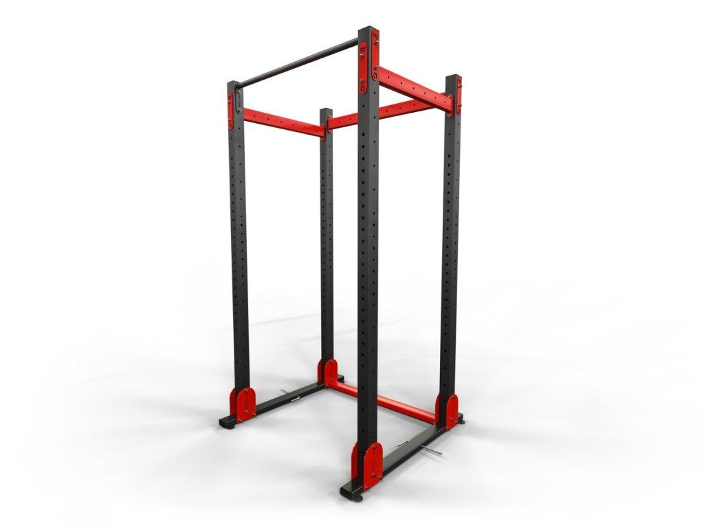 Silová přenosná klec s hrazdou a držákem činky v jednom v základní variantě na funkční trénink s vlastní vahou i silový trénink s olympijskou osou.