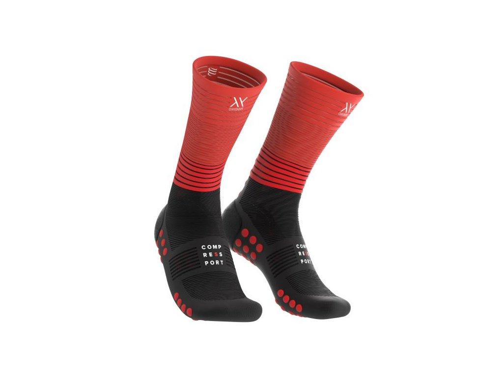 mid compression socks black red t1