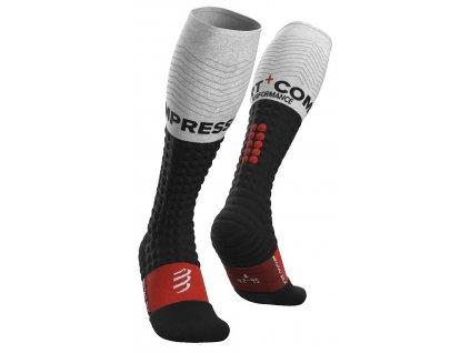 alpine ski merino full socks black white t1