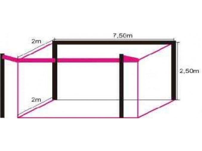 Síť na branku Sport 7,5 x 2,5 x 0,8/1,5 m, oko 12 cm, 3 mm