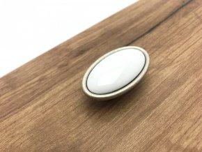 Porcelanova knopka Margarita oval bila starostribro
