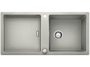 Granitový dřez Blanco ADON XL 6 S perlově šedá + dřevěná krájecí deska, nerez drát. koš a excentr 520524