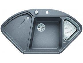 Granitový dřez Blanco DELTA II InFino aluminium + miska nerez pro vaničku a excentr 523658