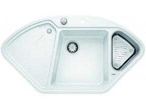 Granitový dřez Blanco DELTA II bílá + miska nerez pro vaničku a excentr 521256