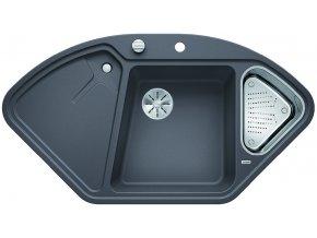 Granitový dřez Blanco DELTA II-F InFino šedá skála + miska nerez pro vaničku a excentr 523671