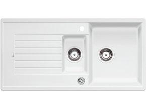 Granitový dřez Blanco ZIA 6 S bílá s excentrem 514734  + Sanitární silikon + Designové masivní dřevěné krájecí prkénko z akácie