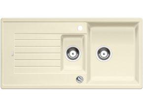 Granitový dřez Blanco ZIA 6 S jasmín s excentrem 514735  + Sanitární silikon + Designové masivní dřevěné krájecí prkénko z akácie