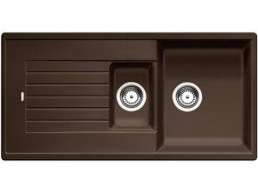 Granitový dřez Blanco ZIA 6 S kávová 515072  + Sanitární silikon + Designové masivní dřevěné krájecí prkénko z akácie