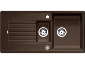 Granitový dřez Blanco ZIA 6 S kávová s excentrem 515071  + Sanitární silikon + Designové masivní dřevěné krájecí prkénko z akácie
