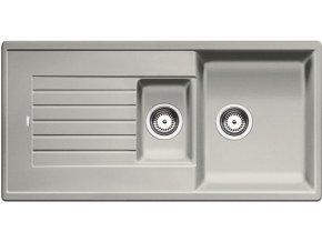 Granitový dřez Blanco ZIA 6 S perlově šedá 520632  + Sanitární silikon + Designové masivní dřevěné krájecí prkénko z akácie