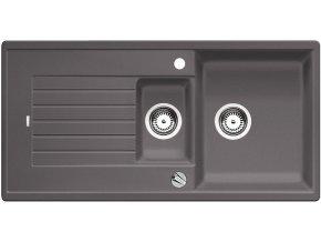 Granitový dřez Blanco ZIA 6 S šedá skála s excentrem 518939  + Sanitární silikon + Designové masivní dřevěné krájecí prkénko z akácie