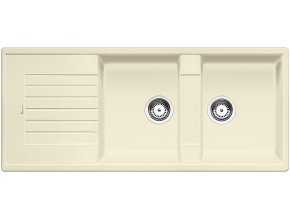 Granitový dřez Blanco ZIA 8 S jasmín 515598  + Sanitární silikon + Designové masivní dřevěné krájecí prkénko z akácie