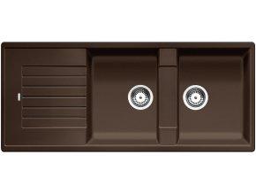 Granitový dřez Blanco ZIA 8 S kávová 515602  + Sanitární silikon + Designové masivní dřevěné krájecí prkénko z akácie
