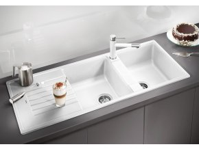 Granitový dřez Blanco ZIA 8 S perlově šedá 520638  + Sanitární silikon + Designové masivní dřevěné krájecí prkénko z akácie