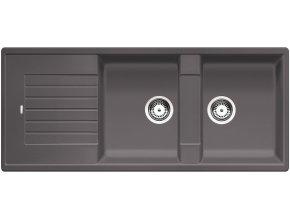 Granitový dřez Blanco ZIA 8 S šedá skála 518946  + Sanitární silikon + Designové masivní dřevěné krájecí prkénko z akácie