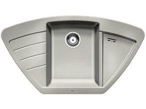 Granitový dřez Blanco ZIA 9 E perlově šedá 520642  + Sanitární silikon + Designové masivní dřevěné krájecí prkénko z akácie