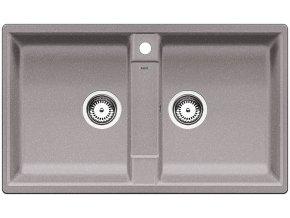 Granitový dřez Blanco ZIA 9 aluminium 516677  + Sanitární silikon + Designové masivní dřevěné krájecí prkénko z akácie