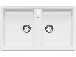 Granitový dřez Blanco ZIA 9 bílá 516678  + Sanitární silikon + Designové masivní dřevěné krájecí prkénko z akácie