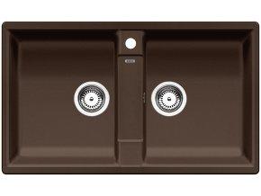 Granitový dřez Blanco ZIA 9 kávová 516683  + Sanitární silikon + Designové masivní dřevěné krájecí prkénko z akácie