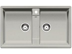 Granitový dřez Blanco ZIA 9 perlově šedá 520640  + Sanitární silikon + Designové masivní dřevěné krájecí prkénko z akácie