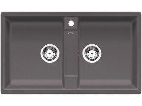 Granitový dřez Blanco ZIA 9 šedá skála 518948  + Sanitární silikon + Designové masivní dřevěné krájecí prkénko z akácie