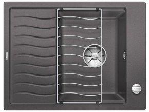 Granitový dřez Blanco ELON 45 S InFino šedá skála + odkapávací rošt nerez a excentr 524815